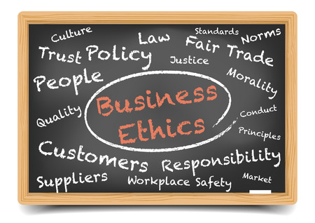 ethics: detailed illustration of a Business Ethics wordcloud on a blackboard, vector, gradient mesh included