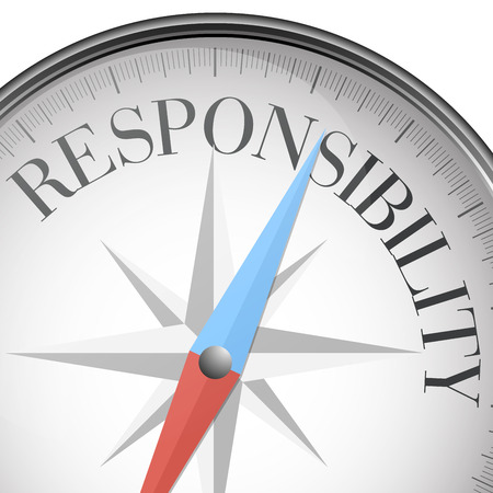 corporate responsibility: detailed illustration of a compass with responsibility text, eps10 vector