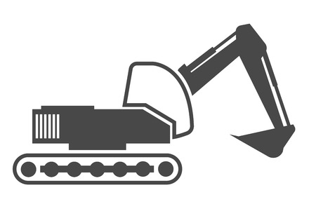 excavating machine: detailed illustration of an excavator outline, eps10 vector