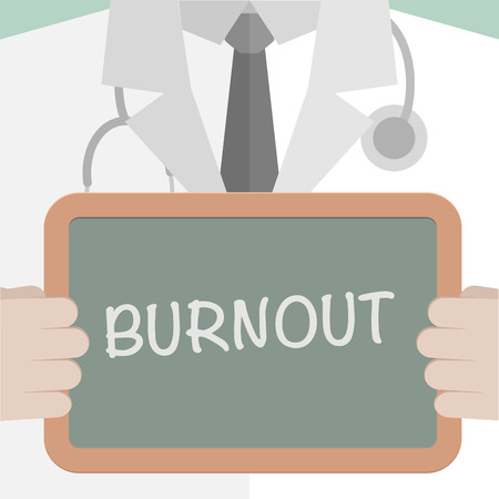 burnout: minimalistic illustration of a doctor holding a blackboard with Burnout text, eps10 vector Illustration
