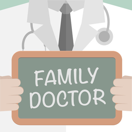 md: minimalistic illustration of a doctor holding a blackboard with Family Doctor text, eps10 vector Illustration