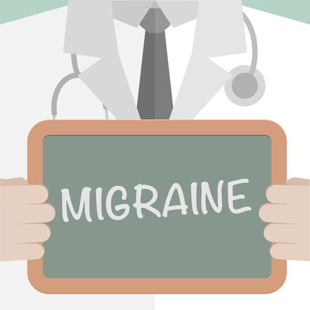 migraine: minimalistic illustration of a doctor holding a blackboard with Migraine text, eps10 vector