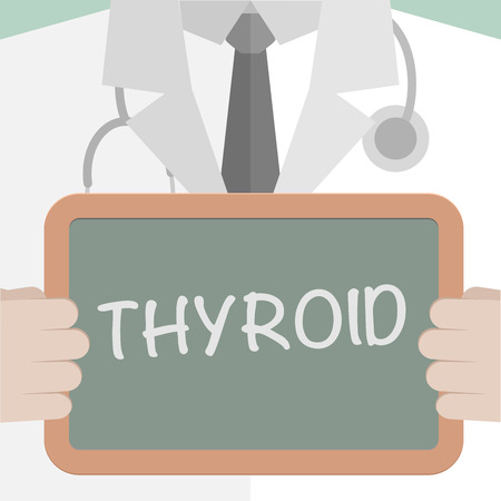 tonsillitis: minimalistic illustration of a doctor holding a blackboard with Thyroid text, eps10 vector Illustration