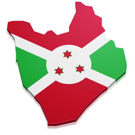 burundi: detailed illustration of a map of Burundi with flag, eps10 vector Illustration