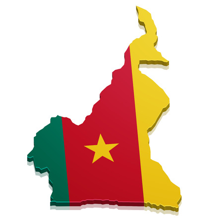 cameroonian: detailed illustration of a map of Cameroon with flag, eps10 vector