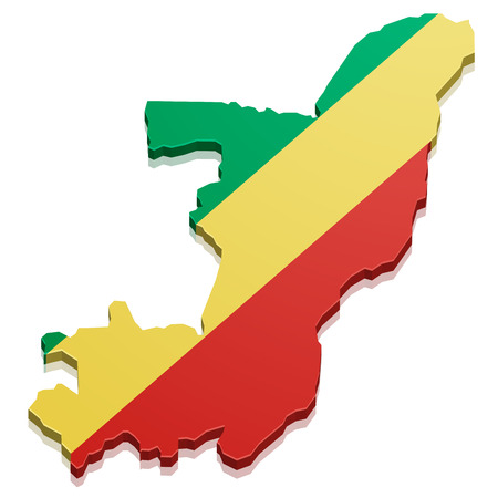 republic of the congo: detailed illustration of a map of the Republic of the Congo with flag, eps10 vector Illustration