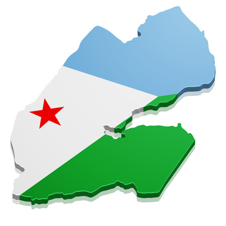 detailed illustration of a map of Djibouti with flag, eps10 vector