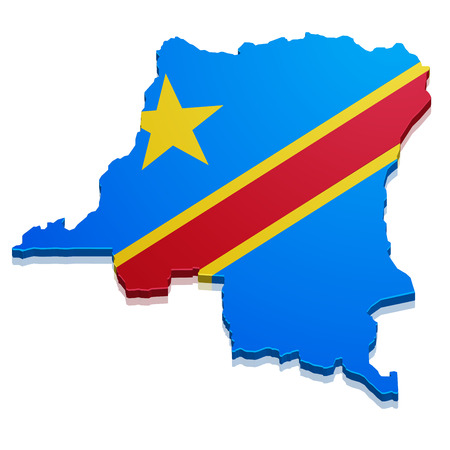 zaire: detailed illustration of a map of the democratic republic of the congo with flag, eps10 vector