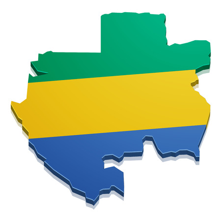 gabon: detailed illustration of a map of Gabon with flag, eps10 vector