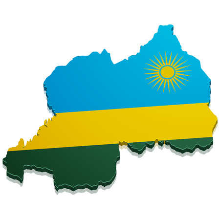 kigali: detailed illustration of a map of Rwanda with flag, eps10 vector