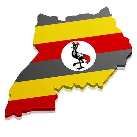 uganda: detailed illustration of a map of Uganda with flag, eps10 vector