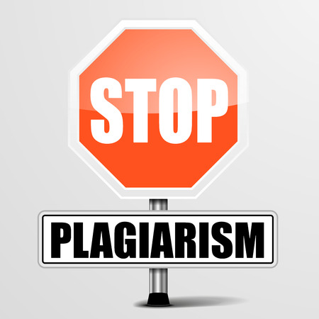 plagiarism: detailed illustration of a red stop Plagiarism sign, eps10 vector Illustration