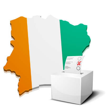 ivory: detailed illustration of a ballotbox in front of a map of Ivory Coast, eps10 vector