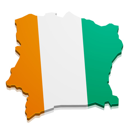 ivory: detailed illustration of a map of Ivory Coast with flag, eps10 vector