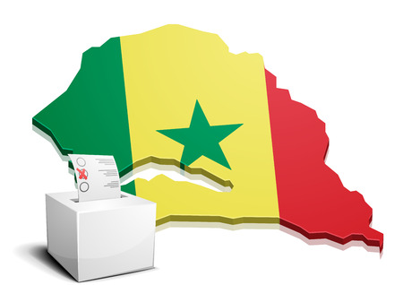 dakar: detailed illustration of a ballotbox in front of a map of Senegal, eps10 vector