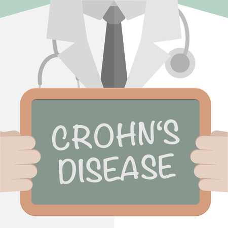 crohn's disease: minimalistic illustration of a doctor holding a blackboard with Crohns Disease text, eps10 vector