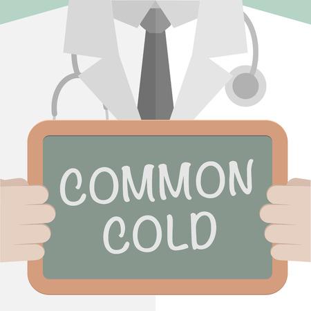 resfriado comun: ilustraci�n minimalista de un m�dico sosteniendo una pizarra con el texto resfriado com�n, vector eps10
