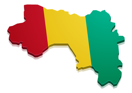 guinea: detailed illustration of a map of Guinea with flag, eps10 vector