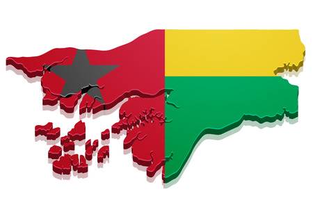 detailed illustration of a map of Guinea-Bissau with flag, eps10 vector