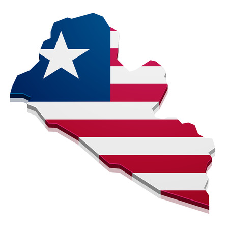 detailed illustration of a map of Liberia with flag, eps10 vector Vector
