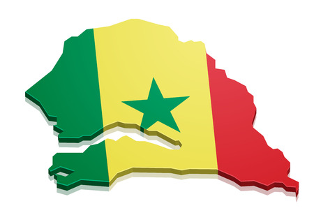 dakar: detailed illustration of a map of Senegal with flag, eps10 vector