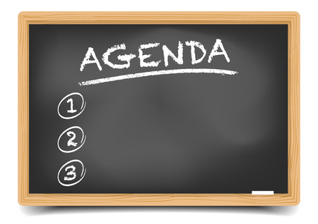 agenda: detailed illustration of a blackboard with Agenda,  gradient mesh included