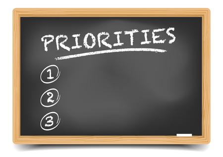 prioridades: ilustraci�n detallada de una pizarra con una lista de prioridades vac�o, vector eps10, el gradiente de malla incluido