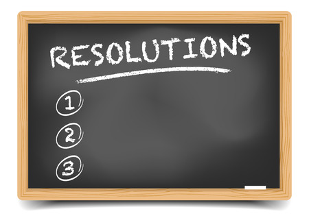 resolutions: detailed illustration of a blackboard with an empty resolutions list,  vector, gradient mesh included