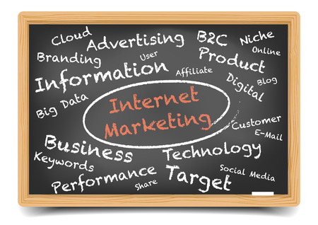 detailed illustration of a Internet Marketing wordcloud on a blackboard,  vector, gradient mesh included Vector