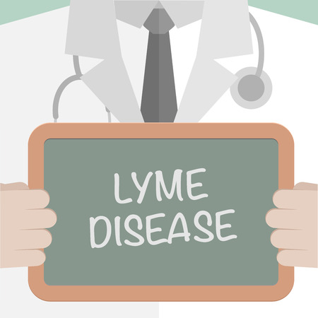 borreliosis: minimalistic illustration of a doctor holding a blackboard with Lyme Disease text, eps10 vector