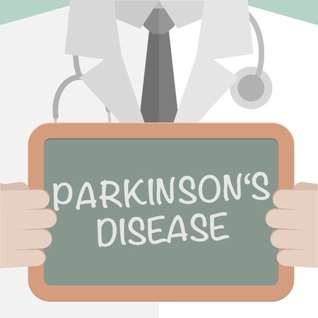parkinson's disease: minimalistic illustration of a doctor holding a blackboard with Parkinsons Disease text,  vector