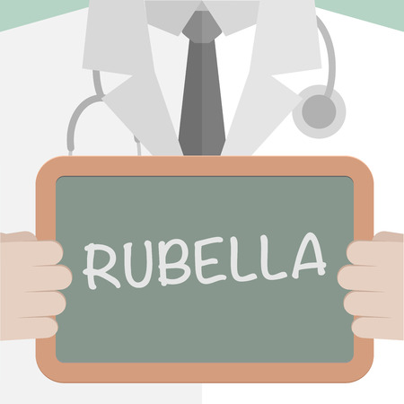 minimalistic illustration of a doctor holding a blackboard with Rubella text,  vector Vector