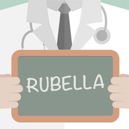 rubella: minimalistic illustration of a doctor holding a blackboard with Rubella text,  vector