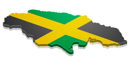 kingston: detailed illustration of a map of Jamacai with flag, eps10 vector