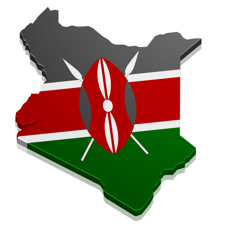 continental: detailed illustration of a map of Kenya with flag,  vector