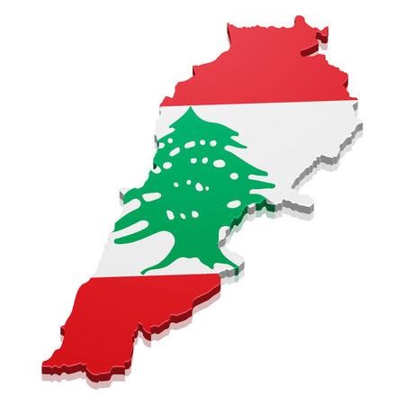 lebanon: detailed illustration of a map of Lebanon with flag,  vector