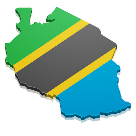 continental: detailed illustration of a map of Tanzania with flag, vector Illustration