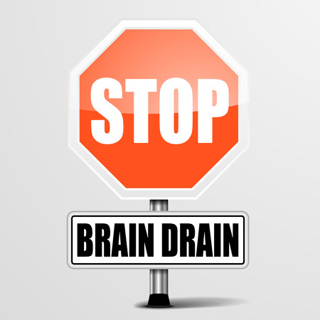 drain: detailed illustration of a red stop Brain Drain sign, eps10 vector Illustration