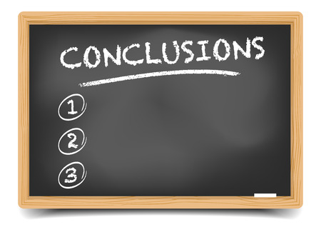 conclusion: detailed illustration of a blackboard with an empty conclusions list