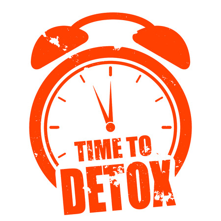 cleansing: minimalistic illustration of a grungy clock with time to Detox text