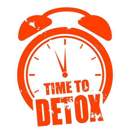 minimalistische illustratie van een grungy klok met de tijd om tekst Detox