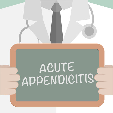 minimalistic illustration of a doctor holding a blackboard with Acute Appendicitis text Vector