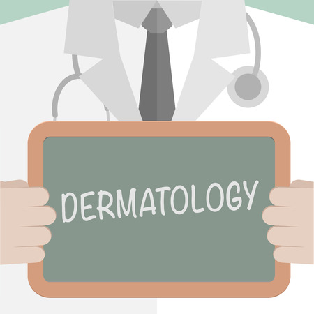 dermatology: minimalistic illustration of a doctor holding a blackboard with Dermatology text