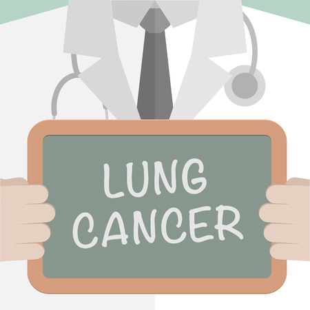 cancer de pulmon: ilustraci�n minimalista de un m�dico sosteniendo una pizarra con el texto del c�ncer de pulm�n