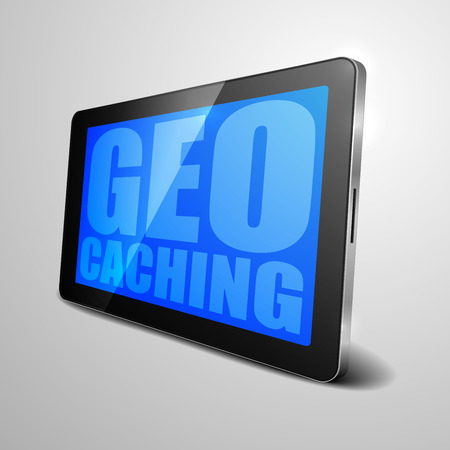 geocache: detailed illustration of a tablet computer device with Geo Caching text, eps10 vector
