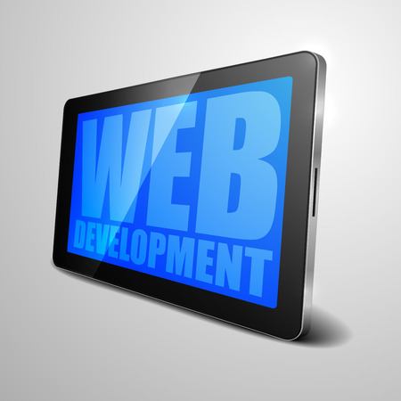 detailed illustration of a tablet computer device with Web Development text Vector