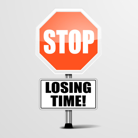 losing: detailed illustration of a red stop Losing Time sign, eps10 vector Illustration
