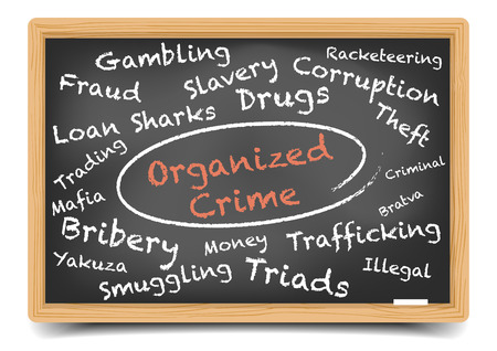 detailed illustration of an Organized Crime wordcloud on a blackboard,  vector, gradient mesh included