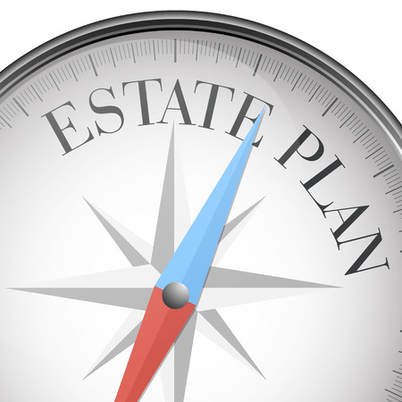 estate planning: detailed illustration of a compass with estate plan text, vector