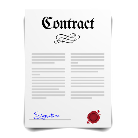 signing papers: detailed illustration of a contract letter with signature, vector